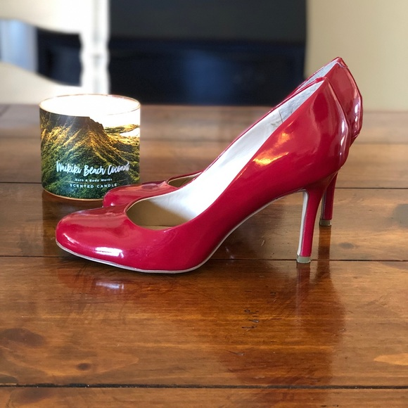 90a94e3c3 Nine West Shoes | Patent Leather Red Roundtoe Pumps | Poshmark